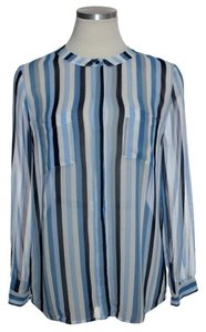 Joie 100% Silk Sheer Long Sleeve Button Down Shirt Blue