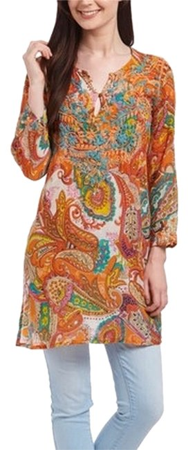 Preload https://item2.tradesy.com/images/orange-and-teal-blouse-size-12-l-4710616-0-0.jpg?width=400&height=650