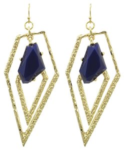 DaVinci Bridal Gold Tone Blue Acrylic Dangle Earrings