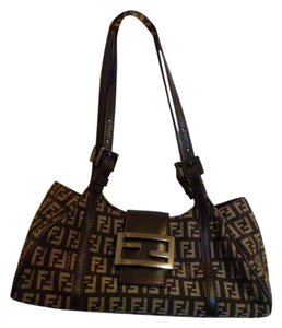 Fendi Monogram Leather Zucca Satchel in Brown/Khaki