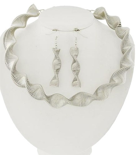 C&C California Rhodiumized Choker Style Necklace and Earrings