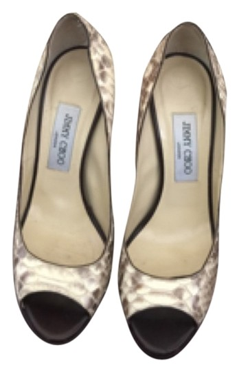 Jimmy Choo Beige Snakeskin Pumps