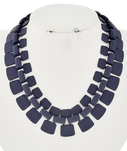 Twinkle by Wenlan Blue Tone Metal Choker Style Necklace