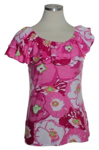Lilly Pulitzer Ruffle Stretch Knit Top Pink