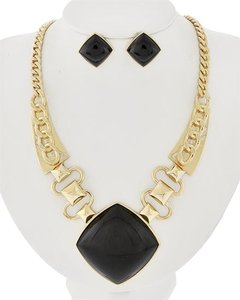 MIA Gold Tone Black Acrylic Necklace and Earrings
