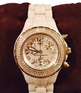 TechnoMarine Diamonds 100 full cut, white ceramic band - Appraisal and new battery included