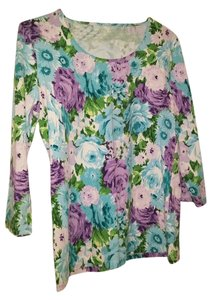 Talbots Top Blue/purple/green floral