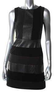 Bailey 44 short dress Black Faux Leather Velvet Panel Striped A-line Sleeveless Inset Leather on Tradesy