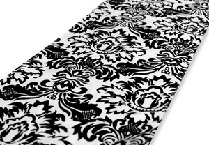 Black and White Flocking Taffeta Table Runner - & - Damask Tablecloth