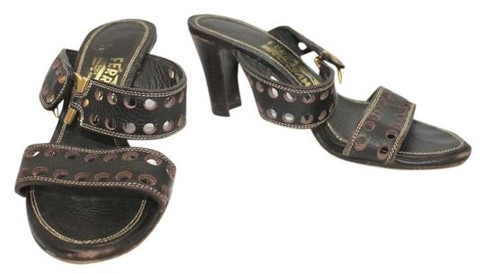 Salvatore Ferragamo Leather Slides DARK BROWN Sandals