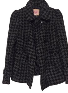 Pink Envelope Houndstooth Print Peplum Structured Pea Coat