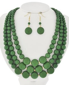 Other Green Acrylic Necklace and Earrings