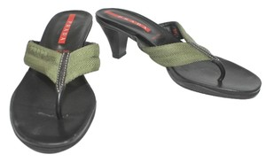 Prada T-strap DARK GREEN/BLACK Sandals