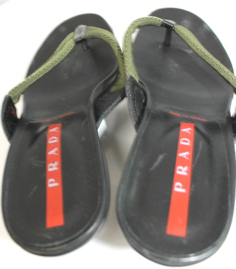 Prada T-strap Slides DARK GREEN/BLACK Sandals
