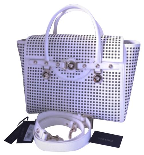 Preload https://item2.tradesy.com/images/versace-white-lambskin-perforated-leather-satchel-4712776-0-0.jpg?width=440&height=440