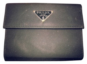 Prada Prada Black tessuto nylon lined in saffiano leather bifold wallet