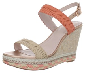 Vince Camuto Peach Coral Cream Metallic Wedges