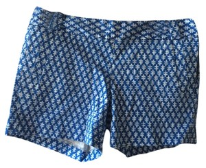 J.Crew Blue City Fit Stretch Pattern Mini/Short Shorts Blue/White