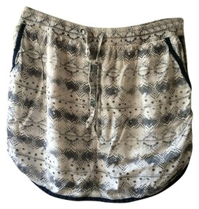 Pattern White Blue Cotton Mini Skirt Blue/White