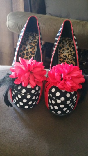 Bettie Page black, red and white polka dots Wedges