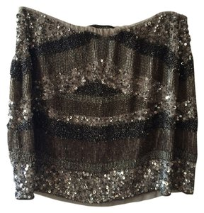 Zara Beaded Sequin Sparkle Mini Skirt Silver