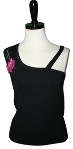 Cache One Sleeve Black and Pink Halter Top
