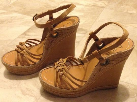 MIA Braided Rope Trim Buckle Ankle Straps Natural Wedges