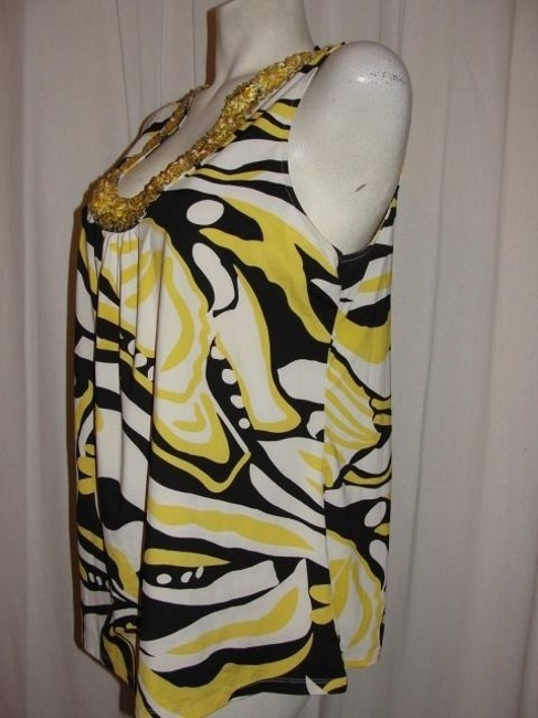 INC International Concepts Top Yellow, White and Black