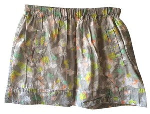 J.Crew Patterned Pockets Cotton Mini Skirt Grey/White/Orange/Green