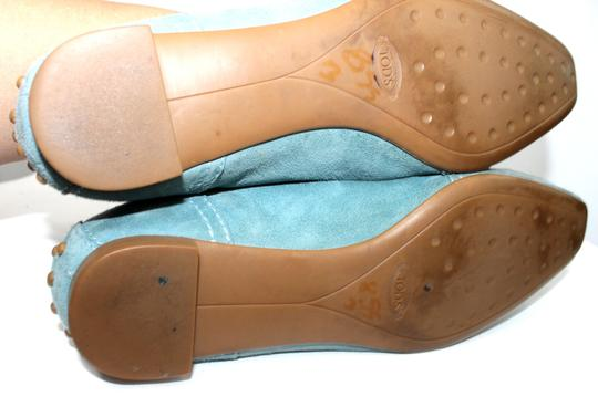 Tod's Suede Leather AQUA Flats
