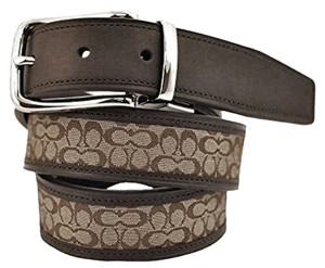 "Coach Coach 90107 Mens Reversable Belt Size 30"" Khaki and Mahogany: MSRP $148"