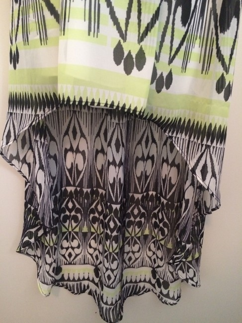 black,white,green Maxi Dress by Bisou Bisou Hi-low Print Size 2