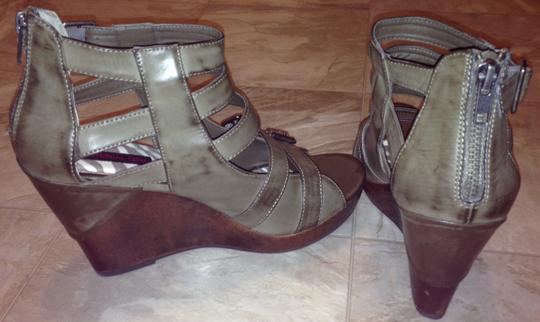 Material Girl Leather Zipper Back Distressed Olive Green Wedges