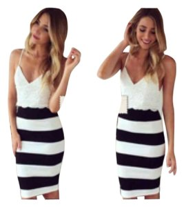 Lace and striped fitted dress short dress White Black on Tradesy