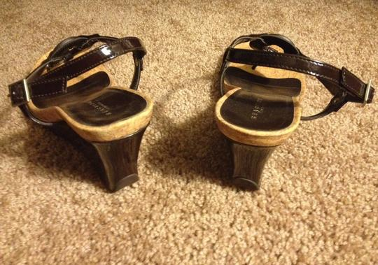 Kenneth Cole Reaction Strappy Heels Corkscrew Designer Chocolate patent leather Wedges