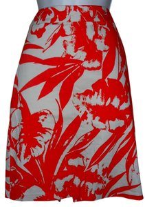 New York & Company Stretch Beach Print Mini Skirt Coral