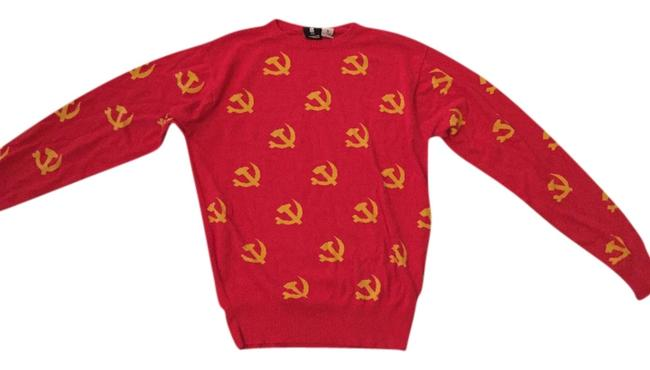 Item - Party Print Comfortable Bright Vintage Knit Limited Edition Red Sweater