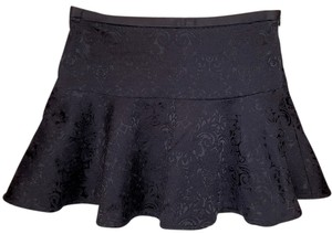 Express A-line Mini Skirt Black Brocade