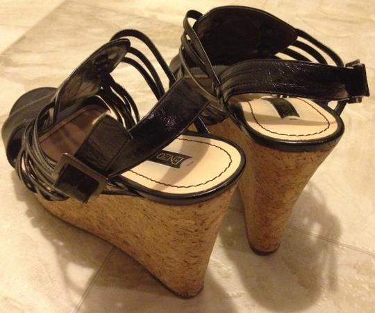 Enzo Angiolini Strappy Heels Black and corkscrew Wedges