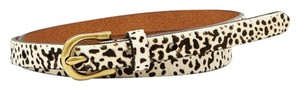 Fossil New! Fossil Hair Calf Skinny Belt - L - Leather Animal Print Bone Black
