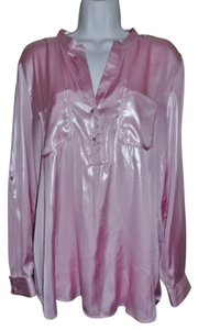 NY Collection V-neck Faux Patent Sexy Button Down Shirt Pink Shine