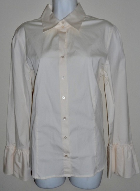 Antonio Melani Ruffled Sleeves Cotton & Spandex Button Down Shirt Cream