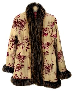 Other Faux Fur Trim Floral Print Coat