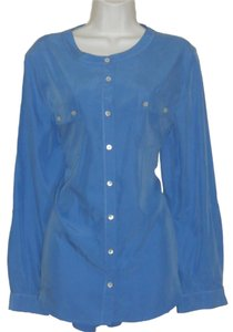 Chico's Modal Tunic Button Down Shirt Periwinkle