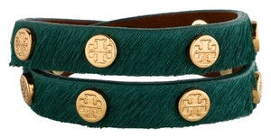 Tory Burch Green ponyhair Tory Burch wrap bracelet