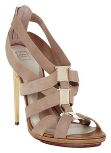 Hervé Leger Pumps Heels Neutral Runway Medallion Gold Crisscross Chic Classic Fashion Leather Suede Nude Sandals