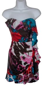 Express short dress Multi Silk Asymmetric on Tradesy