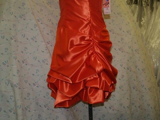 Orange Satin Short Small #2706 Modern Bridesmaid/Mob Dress Size 6 (S)