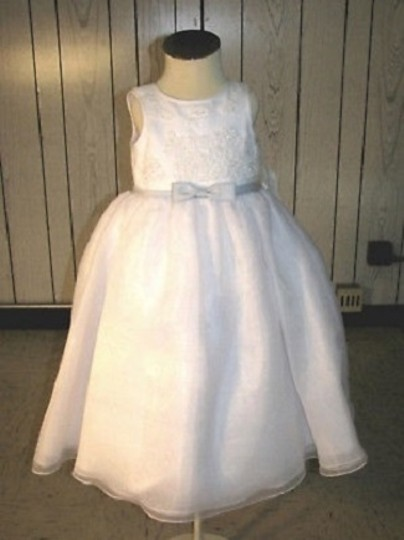 White/Light Blue Ladybug Fashions/Allegra Fashions 1061 Flower Girl Dres - Size 3