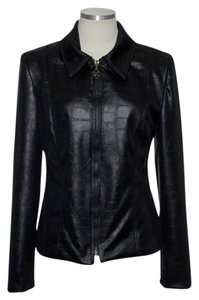 Joseph Ribkoff Vegan Leather Full-zip Black Jacket